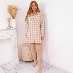 Robe chemise grand carreaux nude