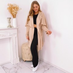 Trench fluide tissu nude