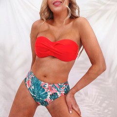 Bikini bas taille haute tropical orange