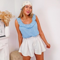 Top liseret broderie anglaise bb blue
