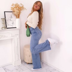 Jeans wide large taille haute