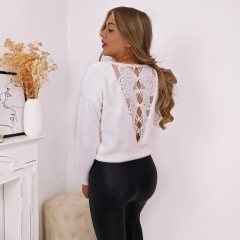 Pull ouverture dos dentelle blanc