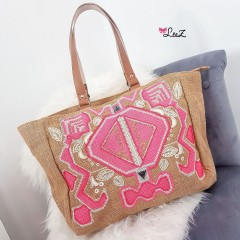 Sac de plage broderies rose