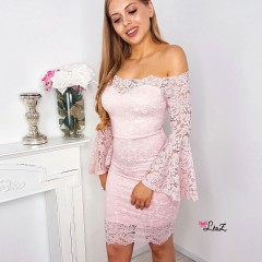 Robe Keira total dentelle rose
