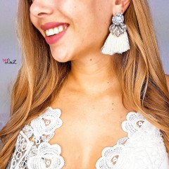 Boucles diamants & pompons nude