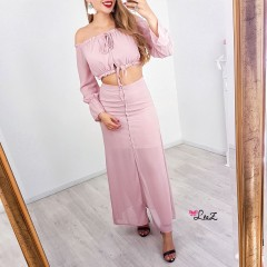 Ensemble top & jupe longue rose
