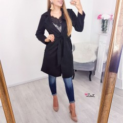 Trench long daim noir
