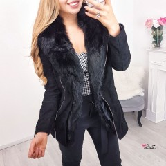 Manteau perfecto long fourrure noir