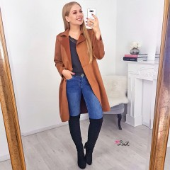 Trench long daim camel