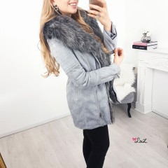 Manteau perfecto long fourrure gris