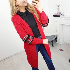 Gilet hippi chic manches rouge