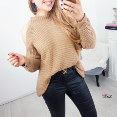 Pull épaules ouvertes choco