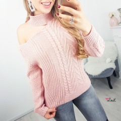 Pull épaule ouverte & tricot rose