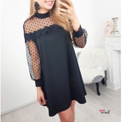 Robe transparence pois noire