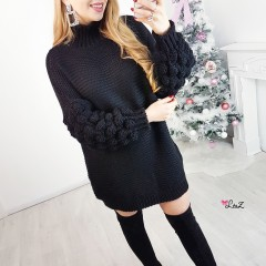 Robe pull manches oversize noire