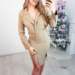 Robe trench fermé nude