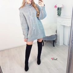 Robe-pull col roulé & tricot gris