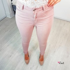 Jeans skinny taille haute rose
