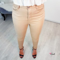 Jeans skinny taille haute nude