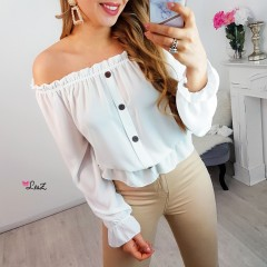 Top bustier voile & boutons blanc