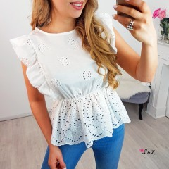 Top broderie anglaise blanc