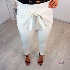 Pantalon coupe cigarette blanc