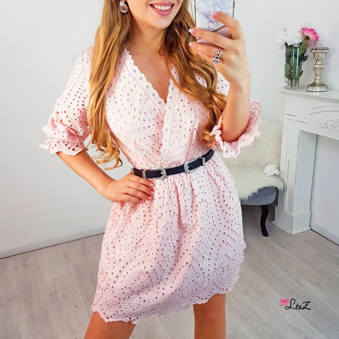 baaef293ed4 Robe broderie anglaise rose