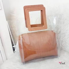 Sac à main transparent & pochette croco nude