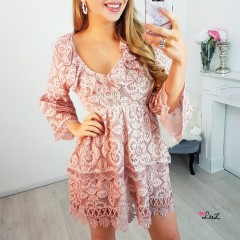 Robe totale dentelle boho rose