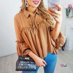 Chemisier oversize & transparence marron