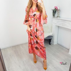 Robe longue plissée & satin orange