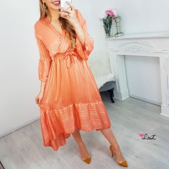 Robe longue fashion satiné peachy