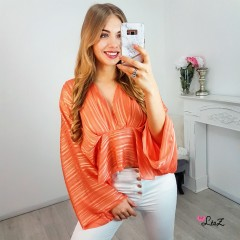 Top volant & fluide satin orange