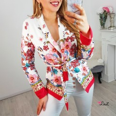 Blazer blanc flower power