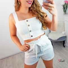 Ensemble top & short boutons blanc