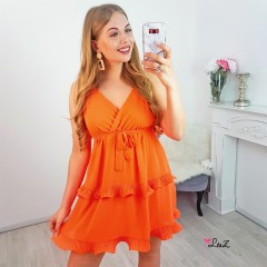 Robe cocktail évasée orange