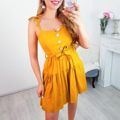Robe petits boutons & lin moutarde