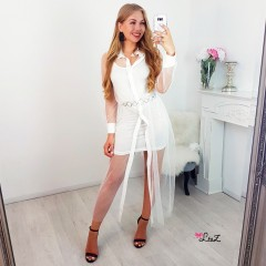 Robe chemise à pois transparence blanc