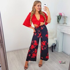 Pantalon large flower rouge
