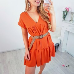 Robe tee-shirt oversize orange