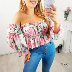 Top fluide bustier flower power blanc