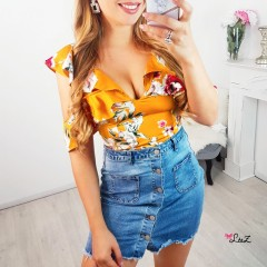 Crop top tendresse fleur jaune