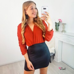 Robe 2 en 1 jupe pailletée haut orange