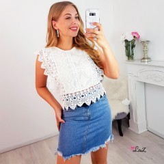 Top total dentelle crochet blanc