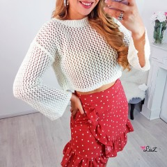 Pull crop grosse maille blanc