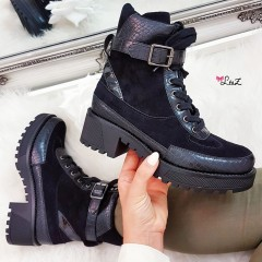 Bottines inspi lacets all black