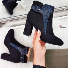 Bottines daim & python all black