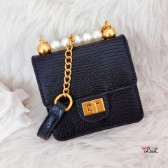 Mini pochette python all black