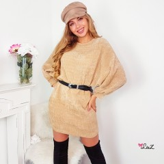 Robe-pull maille velours beige