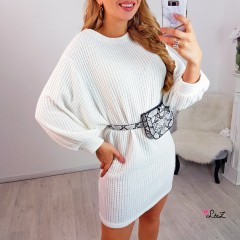 Robe-pull maille velours blanc